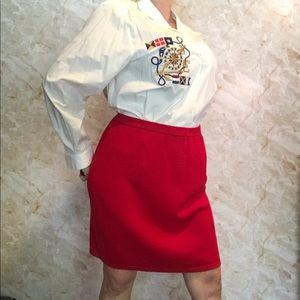 Red knit St. John skirt plus size 14
